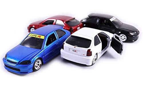 Set of 4 1997 Honda Civic Hatchback EK9 Type R Pull Back Toy Cars 1:32 Scale - Doors Lambo Honda Civic
