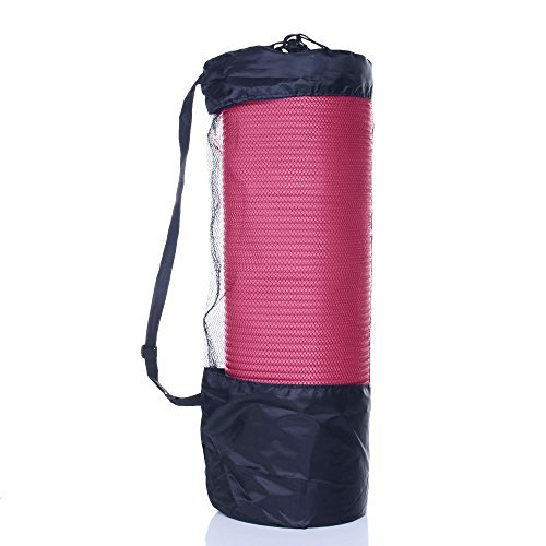 MASIONE Yoga Mat 10mm 1/2-Inch Thick NBR Nonslip Pilates Pad Workout Fitness Exercise Mat Yoga Camping Mats with Carry Strap & Bag 72''x24''(Pink