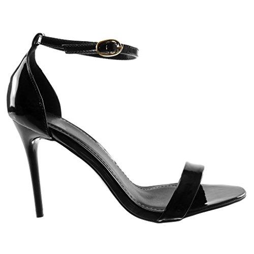 Scarpe Sandali Tacco Verniciato con 9 Stiletto Nero alla Caviglia Tanga Stiletto Cinturino Donna Angkorly Decollete 5 Moda cm Tacco con Alto fq6Efd