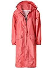 Womens Waterproof Lightweight Raincoat Hooded Hiking Long Rain Jacket (Rose Red,M)