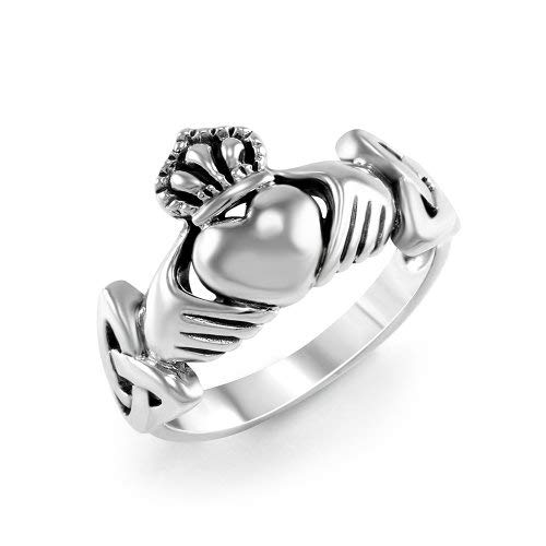 925 Sterling Silver Oxidized Irish Claddagh Friendship Celtic Knot Ring