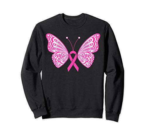 Breast Cancer Awareness Pink Ribbon Tribal Butterfly Tattoo Sweatshirt