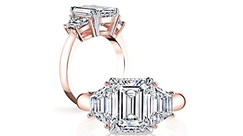 (DIAMOND MANSION Gorgeous Natural Emerald 3 Stone Trapezoid Diamond Engagement Ring (Rose Gold, 1.60))
