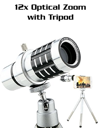 12x Universal Aluminum Optical Zoom with Tripod - Smartphone Telephoto Telescope Lens for iPhone Samsung Android LG Sony Camera Lens Kit + Mini Tripod (Silver)