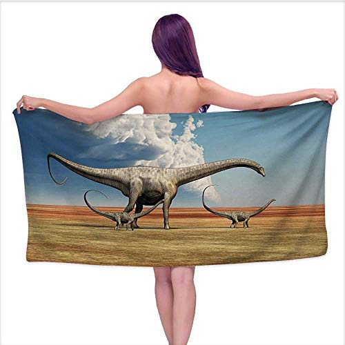 (Bensonsve Bath Towels Extra Large Jurassic,Mother Diplodocus Dinosaur Walks Along with Her Brood of Youngsters Clouds,Khaki Blue Grey,W20 xL39 for bathrooms, Beaches, Parties)