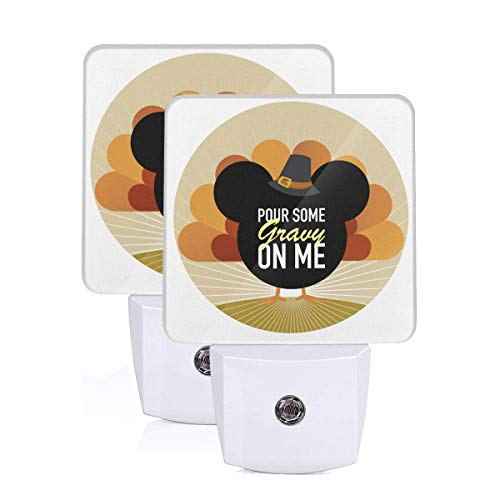 Pour Some Gravy On Me Turkey Thanksgiving Day LED Night Light, Plug-in LED Night Light Lamp with Light Sensor, for Bedroom, Bathroom, Hallway, Stairways, 0.5W-2 Pack