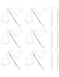 Pack of 12 Wedding Style Stick Umbrellas Large Canopy Windproof Auto Open J Hook Handle in Bulk (Crystal Clear)