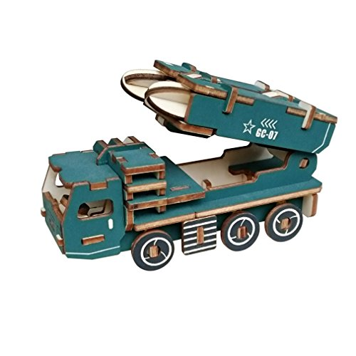 Laser Cut DIY 3D Assembly Puzzles Handmade Educational Woodcraft Wooden Model Kits Set Toy for Kids Youth Teenage and Adult (Missile car)
