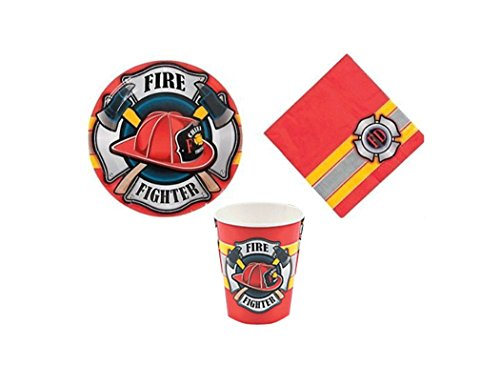 t - Birthday Party Supplies Set Fireman Fire House Heroes Fire Fighter Theme Dinner Plates and Napkins and Cups (Firefighter Cups)