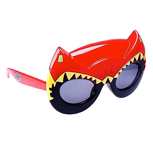 Sunstaches Mighty Morphin' Power Rangers Dino Charge Red Power Ranger Sunglasses, Party Favors, (Power Rangers Glasses)