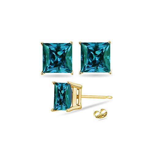- 0.66-0.88 Cts of 4 mm AAA Princess Russian Lab Created Alexandrite Stud Earrings in 14K Yellow Gold