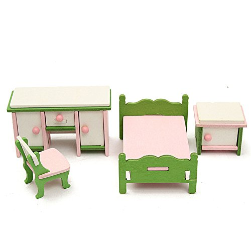 Neolifu (Ship from US) Dollhouse Miniature Bedroom Kit Families Role Play Toy Wooden Furniture Set