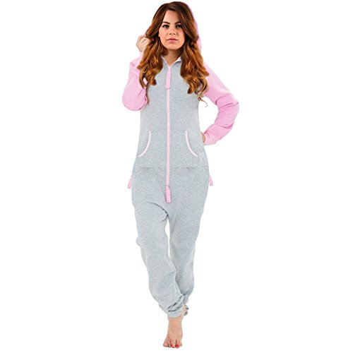 SKYLINEWEARS Women's Ladies Onesie Hoodie Jumpsuit Playsuit Pink-Gray L (Plastic Zipper Trouser)