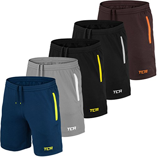TCA Mens & Boys Aeron Gym or Running Shorts - Cool Grey/White, M