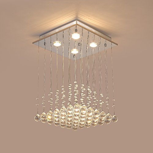 Pearl Bronze Foyer Pendant (Saint Mossi K9 Crystal Rain Drop Chandelier Modern & Contemporary Ceiling Pendant Light H22