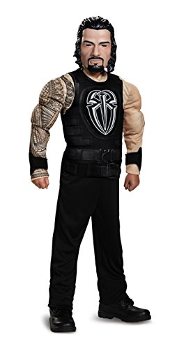 Roman Reigns Classic Muscle WWE Costume, Black, Medium (Wwe Childrens Halloween Costumes)