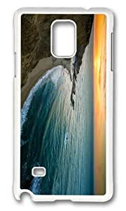 MOKSHOP Adorable coast sundown Hard Case Protective Shell Cell Phone Cover For Samsung Galaxy Note 4 - PC White