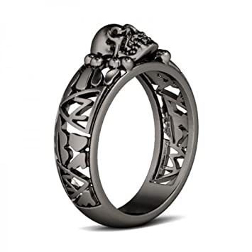 Amazoncom 925 Silver Ring Black Gold Filled Women Men Skull