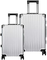Set de Maletas de Viaje Juego con 2 Piezas Hardside Equipaje Rígido Resistente 4 Ruedas Giratorias 360 Aluminio Color Plata