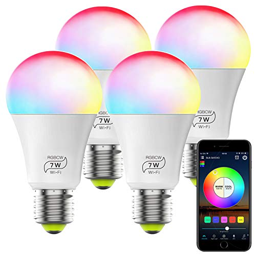 Smart WiFi Alexa Light Bulb, Dimmable Multicolor E26 A19 7W (60w Equivalent) Magic Hue LED Light Bulb, Compatible with Alexa Google Home Siri IFTTT (4 Pack)