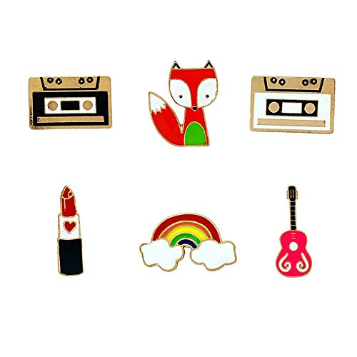 Herinos 6Pcs Cartoon Enamel Pins Set Badges Old Days Lapel Christmas Brooch Magnetic Tapes Lipstick Guitar Rainbow Fox ()