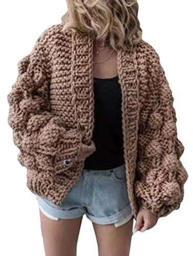 - KLJR Women Knit Thickened Puff Sleeve Open Front Sweater Coat Loose Cardigans One One Size