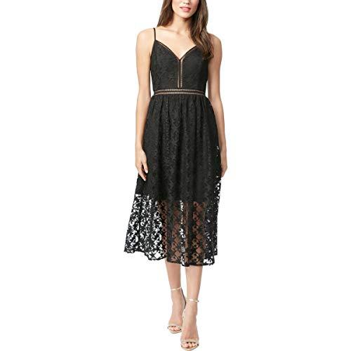 Betsey Johnson Womens Lace Cami Midi Dress Black 10 (Betsey Johnson Cami)