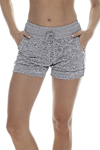 90 Degree By Reflex Activewear Lounge Shorts   Heather Grey Large