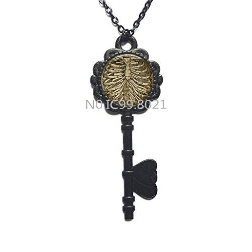 Rib Cage Key Necklace, Skeleton Key Necklace, Bones Jewellery, Goth Jewelry, Gothic Key Necklace, Anatomical Jewellery, Goth Gift.XT267 (C)