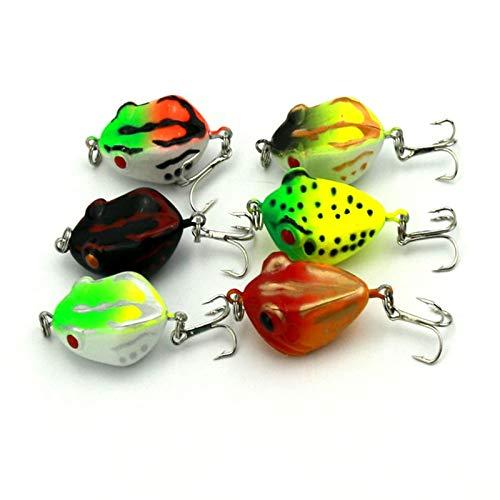 Meomeo2356 Soft Plastic Baits Lot 6Pcs/Lot Artificial Frog Fishing Lures Soft Plastic Fishing Baits with Hooks Isca Pesca Fishing Tackles 4Cm 6G