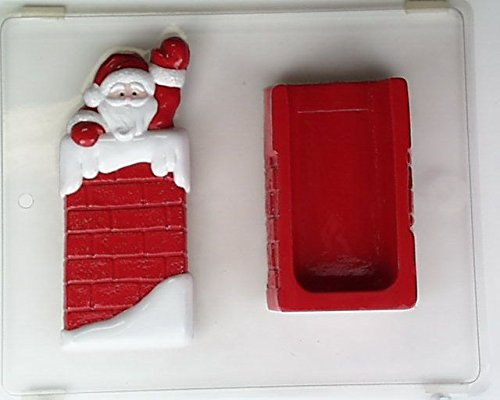 Pour box bag w/ Santa in chimney waving C089 Christmas Chocolate Candy Mold (Chocolate Mold Pour Box Bottom)