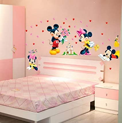 CCM Cartoon Mickey Minnie Mouse baby home decals wall ...