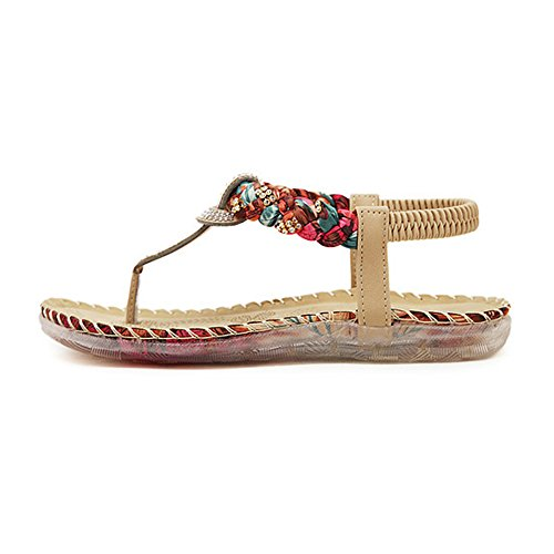 Flats Apricot Strappy New Fresh Sandals Rhinestone Stil Siketu Shoe Cool Women's Böhmen Summer 7xwwpqv