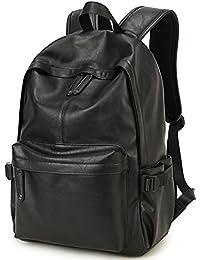 BP-08 TOP PU Leather Laptop Backpack School College Rucksack Bag Black