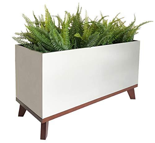 "NMN Designs Madeira Rectangle Planter with Hardwood Base - 30"" X 12"" X 16"" - Brushed Metal Finish"