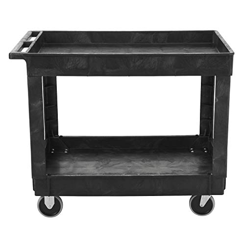 Rubbermaid Commercial Utility Cart, Lipped Shelves, Medium, Black, 4 Non-Marking Swivel Casters, 300 lb Capacity FG9T6700BLA