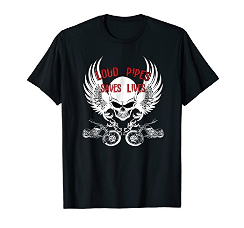 s Lives Biker Shirt with Skull and Wings Medium Black ()