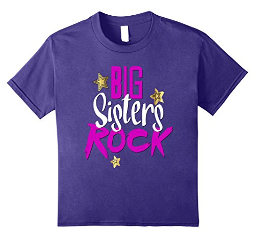 Big Sisters Rock (Kids Big Sisters Rock Shirt Matching Kids Daughter Family 8 Purple)