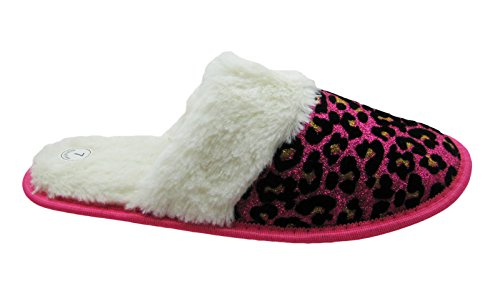 Pictures of Sparkling Animal Printed House Slippers w/Fluffy 6