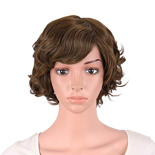 MapofBeauty 11.8 Inch/30cm Special Women Short Curly Side Bangs Fashion Wig (Brown)