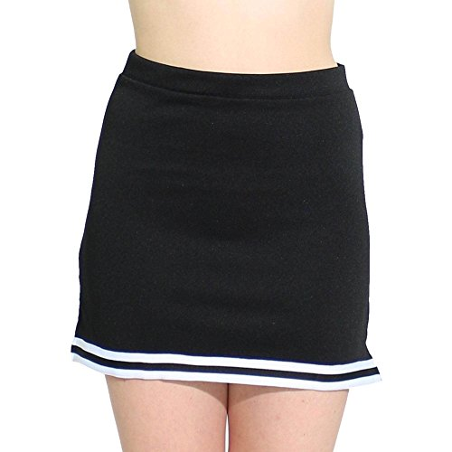 Cheerleaders Uniform Skirts - Danzcue Womens A-Line Cheerleaders Uniform Skirt, Black-White, Large