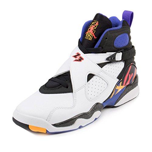 Jordan Air 8 Retro Threepeat BG Big Kids' Shoes White/Infrared-Black-Bright Concord 305368-142 (6 M US)