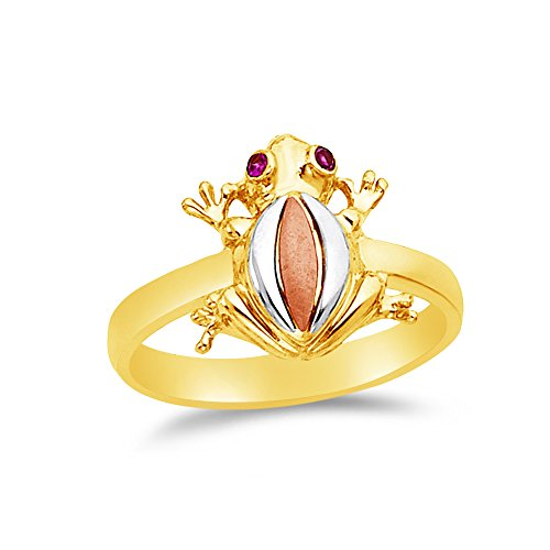 Size - 8 - Jewel Tie Solid 14k Rose Yellow & White Gold Cubic Zirconia CZ Fancy Fashion Frog Ring