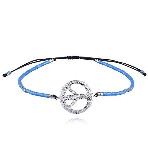 (KELITCH Abalone Shell Eyes Beaded Peace Icon Bracelets Handmade Strand Bracelets New (Lake)