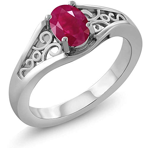 Gem Stone King Red Ruby 925 Sterling Silver Women's Solitaire Ring (0.60 Ct Oval Gemstone Birthstone Available 5,6,7,8,9) (Size 9)