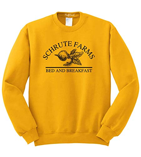 Nuff Said Schrute Farms Beets Bed and Breakfast Sweatshirt Sweater Pullover - Unisex (Medium, Gold - Black Ink)