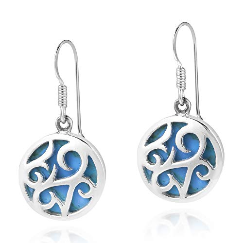Circle Lace Filigree Swirl Simulated Turquoise Inlay .925 Sterling Silver Dangle Earrings