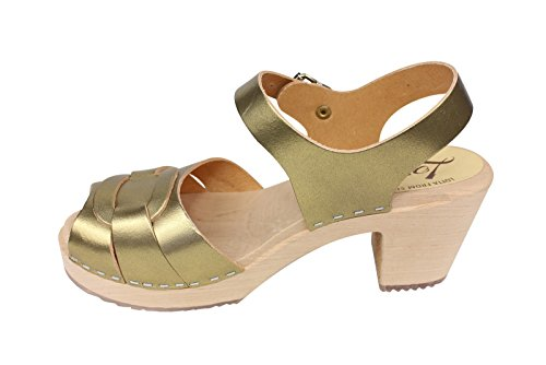 Lotta From Stockholm Peep Toe Clogs in Antique Gold: Amazon.co.uk: Shoes &  Bags