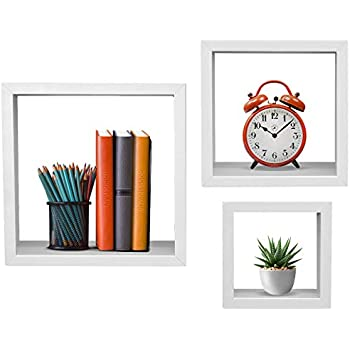Sorbus Floating Shelves - Hanging Wall Shelves Decoration - Perfect Trophy Display, Photo Frames (White)