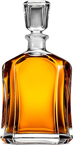 Paksh Capitol Glass Decanter with Airtight Geometric Stopper - Whiskey Decanter for Wine, Bourbon, Brandy, Liquor, Juice, Water, Mouthwash. Italien Lead-Free Glass | 23.75 oz